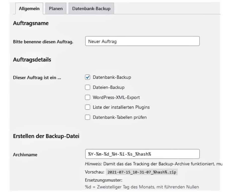 Umzug WordPress Website Datenbank BackWPUp Auftrag II
