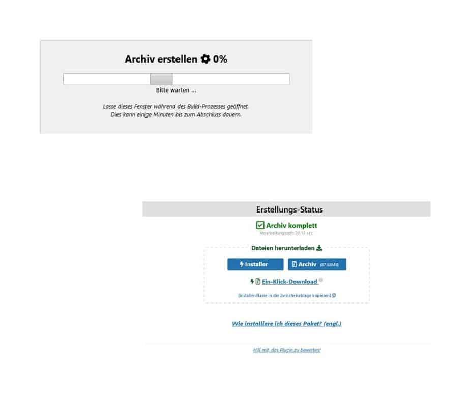Umzug WordPress Website Datenbank BackWPUp Dateien Archiv erstellen