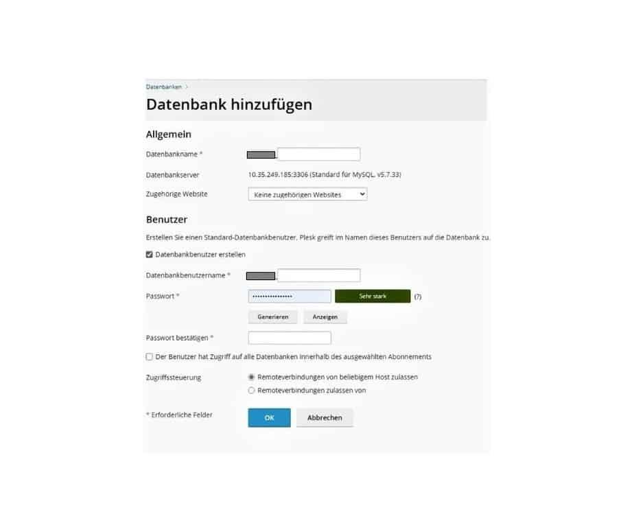Umzug WordPress Website Datenbank erstellen