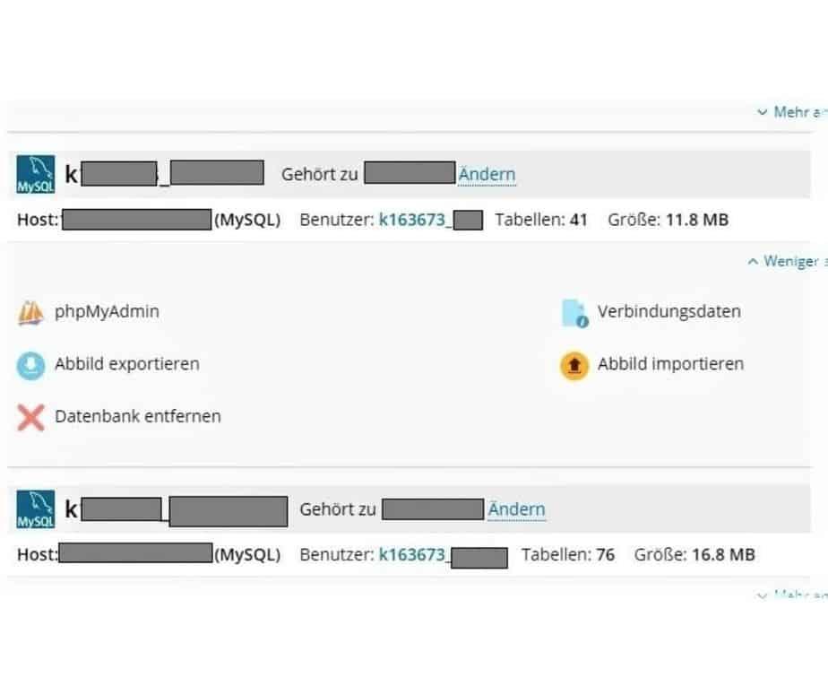 Umzug WordPress Website Datenbank hinzufügen